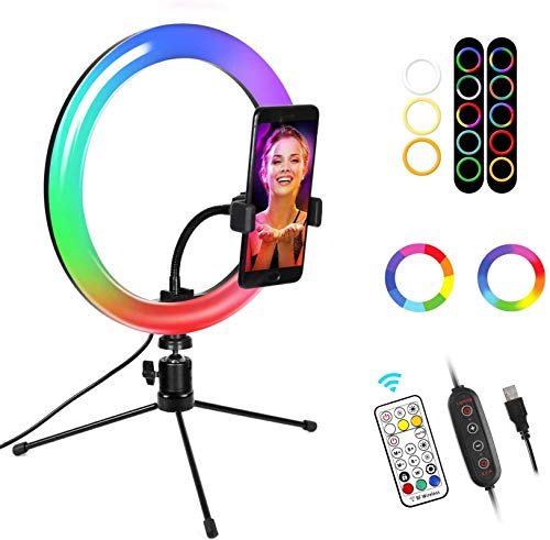 """10.2""""Selfie Ring Light with Stand and Phone Holder LTRINGYS Makeup LED Ring Light with 26 RGB Flash Colors Dimmable Desktop Ring Light with Wireless Remote Control for YouTube"""