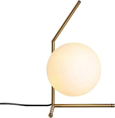 Glass Ball Desk Lamps Dia 20cm White Table Lamp for Bedroom Study Bedside Light Art Decoration Home Lighting
