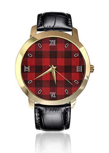Negro y rojo cuadros personalizados moda clásico analógico reloj de pulsera de cuarzo reloj de cuero correa para hombres mujeres