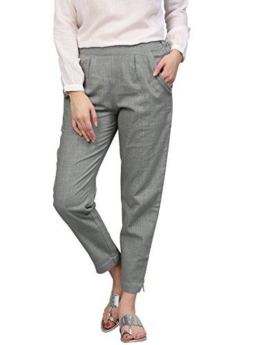 Jaipur Kurti Women's Solid Regular Trouser (Jkpat0014-S_Grey_Small)