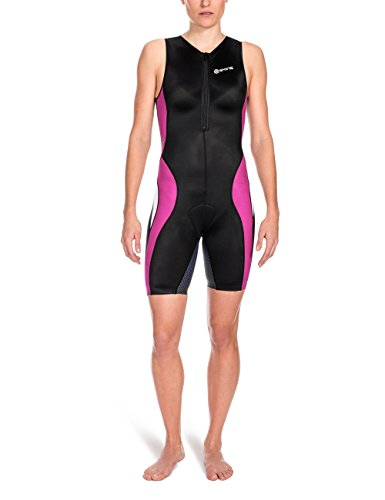 Skins Damen Sportkompressionstextilien Tri 400 Womens Skinsuit W Front Zip, Black/Orchid, XS, T49085032FXS