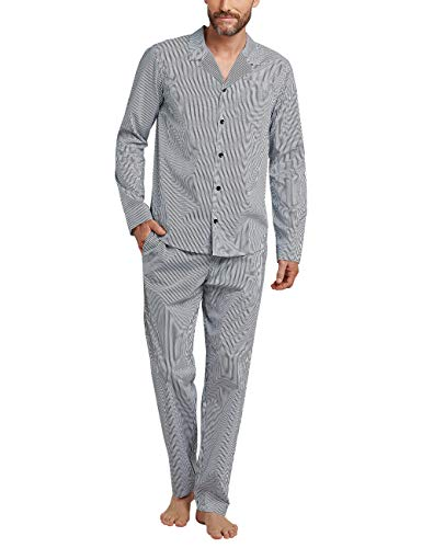 Schiesser Herren Pyjama lang Zweiteiliger Schlafanzug, Blau (Dunkelblau 02), X-Large (Herstellergröße: 054)