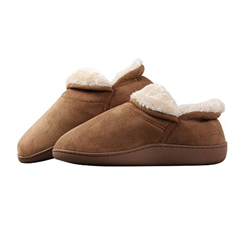 Joybery Men's Memory Foam Slippers Suede Faux Fur Lined Warm Clogs Home House Shoes Bootie Boot Indoor Outdoor w/Antiskid Sole (7-8, Camel)
