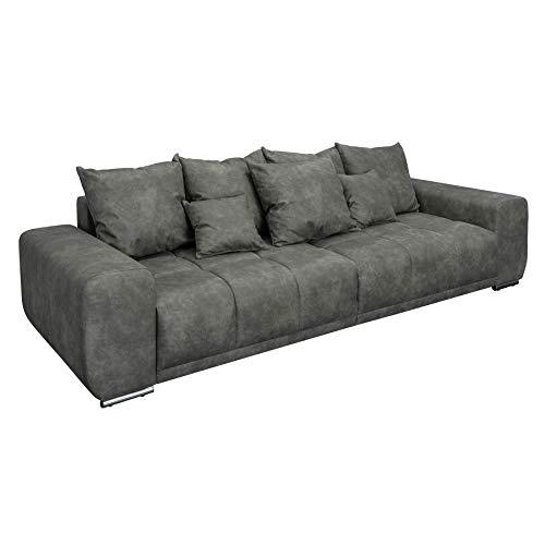 riess-ambiente.de Extravagantes XXL Sofa ELEGANCIA 280cm grau inkl. Kissen Bigsofa Große Polstercouch Wohnlandschaft