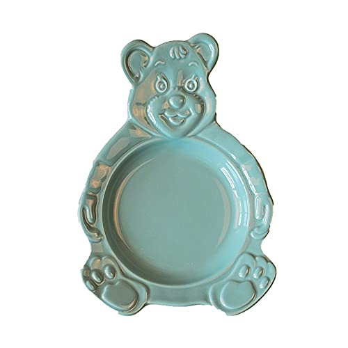 PPuujia Cute Cartoon Bear Bowl Dessert Cereal Bowl Ceramic Plate Cutlery Salad Tray Flat Soup Bowl Cake Baking Tray Kitchen Tableware (Color : H)