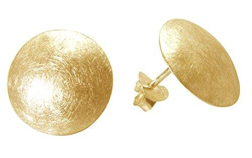 Scheiben Ohrstecker hochwertige Goldschmiedearbeit (Sterlingsilber 925 vergoldet) Durchmesser 16 mm, Silber Ohrstecker, Damen Ohrstecker, Damen Ohrringe