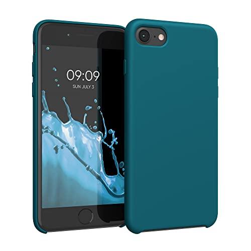 kwmobile Hülle kompatibel mit Apple iPhone 7/8 / SE (2020) - Hülle Silikon gummiert - Handyhülle - Handy Hülle in Petrol matt