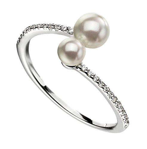 Elements Silver Women 925 Sterling Silver Pearl Ring - Size Q AZ-R3601W 58