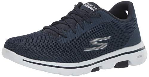 Skechers Damen Go Walk 5 - Lucky Sneaker, Blau (Navy Textile/White Trim Nvw), 43 EU