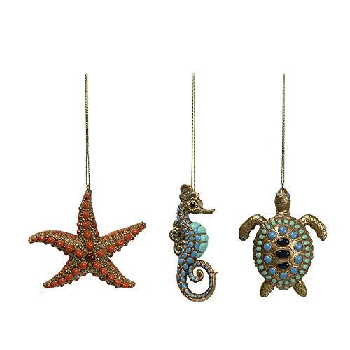 Comfy Hour Resin Ocean Wild Animal Seahorse Starfish Turtle Christmas Tree Ornaments Set of 3