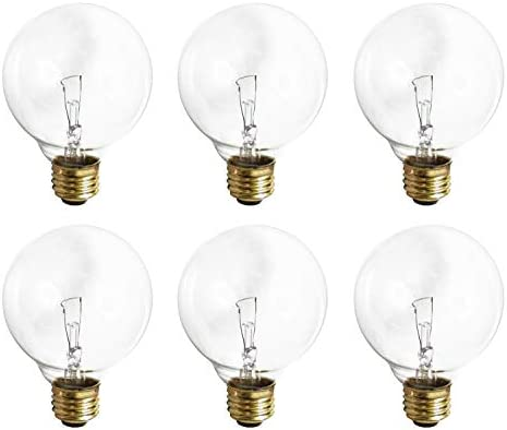 G25 Clear Globe Incandescent Light Bulb 40 Watt 2700K Soft White E26 Medium Base 360 Lumens product image