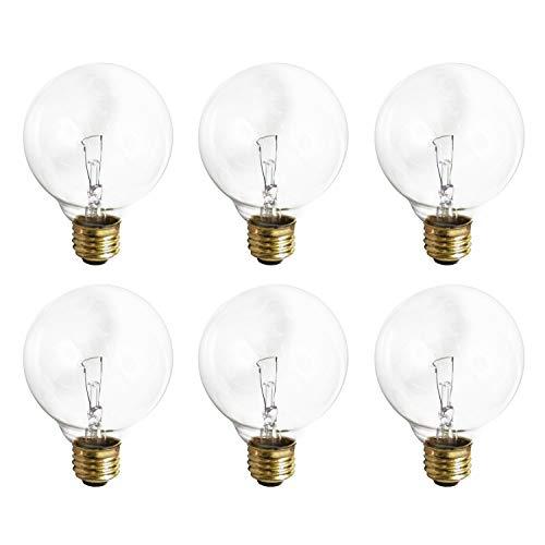 G25 Clear Globe Incandescent Light Bulb, 60 Watt, 2700K Soft White, E26 Medium Base, 360 Lumens, 130V (6 Pack)