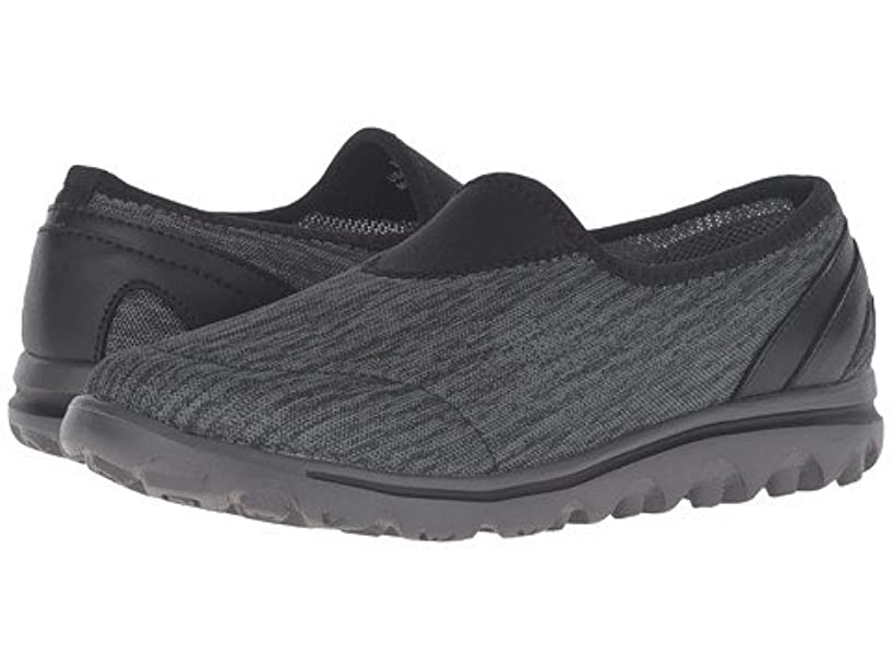 ヘロイン大学腐敗した[プロペット] レディースウォーキングシューズ?カジュアルスニーカー?靴 TravelActiv Slip-On Black/Grey Heather 5 22cm M (B) [並行輸入品]