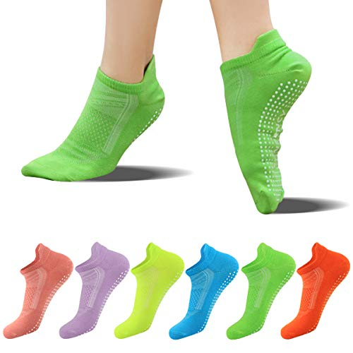 FUNDENCY Non Slip Yoga Socks for Women 6 Pairs, Anti-Skid Socks for Pilates Bikram Fitness Socks with Grips