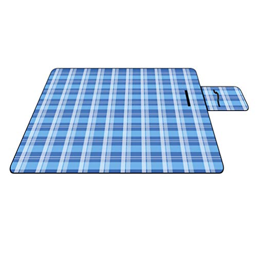 Lvguang Plegable Impermeable Manta Picnic para Playa, Acampar, Viajar sobre la Hierba (Azul#1, 150 * 200 * 0.25cm)