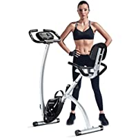 BCAN Folding Exercise Magnetic Upright Bicycle with Heart Rate, Speed, Distance, Calorie Monitor