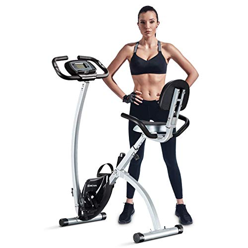 BCAN Folding Exercise Bike, Magnetic Upright Bicycle with Heart Rate, Speed, Distance, Calorie Monitor, 330LBS Support - Grey/Black 2020 Version