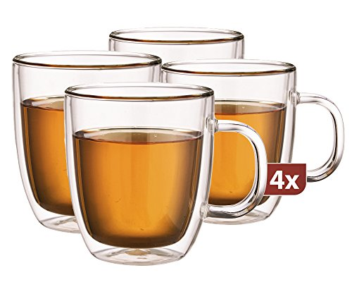 Maxxo Doppelwandige Gläser Extra Tee Set 4X 480 ml Kafee & Tee Thermogläser mit Schwebe-Effekt beständige Teegläser Kaffeegläser