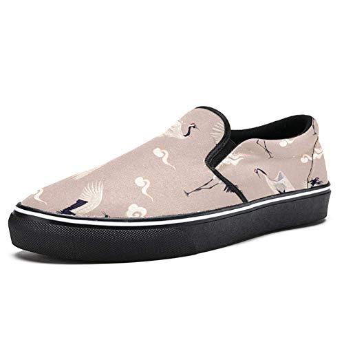 TIZORAX Cranes and Clouds Slipper Loafer Schuhe für Herren Jungen Fashion Canvas Flache Bootsschuhe, Mehrfarbig - mehrfarbig - Größe: 45 EU