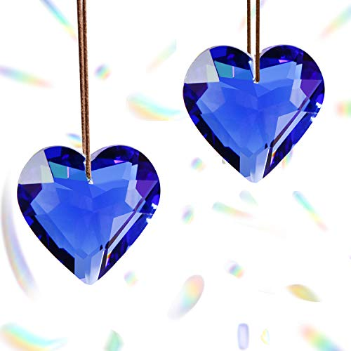Together-life 2 Pack Crystal Suncatcher Ball Heart Prisms Pendants & Chandelier Window Hanging Ornament Rainbow Crystal(Blue)