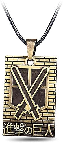 Collier Anime Attaque sur Titan Cosplay Bijoux Scoutisme Légion Badge Bronze Cadeau