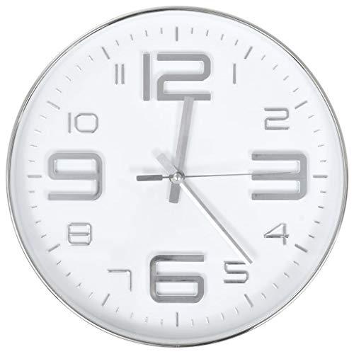 vidaXL Horloge Murale Argenté à Quartz Montre de Salon Pendule de Cuisine