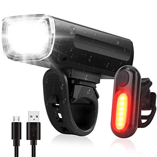 Kit Éclairage Vélo,OMERIL Lampe de Velo Rechargeable, Phare de Vélo 3 LEDs Puissante et Feu Arrière 5 modes de Luminosité Éclairage, Anti-éblouissement pour Cyclysme VTT, Poussette et Camping etc