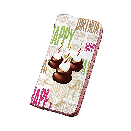 誕生日のデコレーション PU革長財布 3つのチョコレートカップケーキキャンドルグランジハッピーバースデーパターン 人気 プレゼント 多色