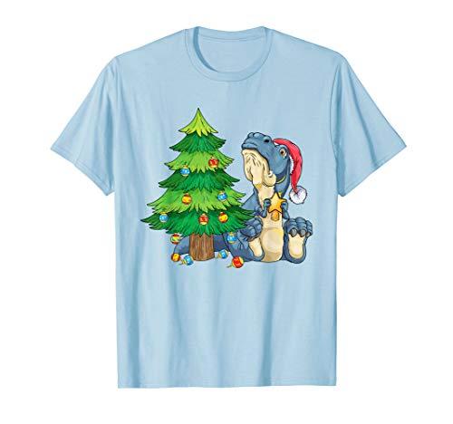 T-Rex am Weihnachtsbaum trauriger Dino Weihnachten T-Shirt