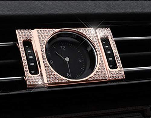 NIUHURU Auto Interieur Trim Fiting Bling Crystal Strass Mode Stickers Accessoires geschikt voor Volkswagen Magotan B8 Arteon CC 2018-2019 (roségoud, Klok ring 1st)
