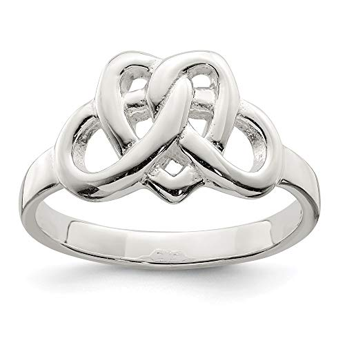 925 Sterling Silver Irish Claddagh Celtic Knot Heart Pattern Woven Band Ring Size 6.00 Fine Jewelry For Women Gifts For Her