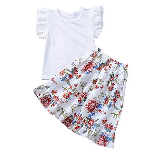 (1-4Y) Costumes pour Filles T-Shirt Manches Courtes volantées + Jupe Longue Fleurie Toddler Kids Baby Girls T-Shirt à Volants Tops Floral Dress Summer Vêtements Tenues