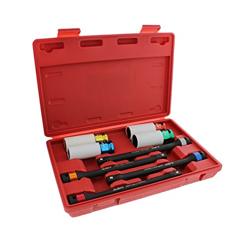 ABN 1/2in Dr Torque Limiting 8in Extension Bar 4pc Set & Tire Lug Nut Deep Impact Socket 4pc Tool Kit