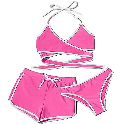 Bikinis Mujer de Tres Piezas Traje de Baño Cuello Halter Atractivo Ropa de Baño de Color Sólido para Mujer Bañadores de Vendaje Tops y Bragas y Shorts Swimsuit Ideal para Piscina,Vacaciones,Mar