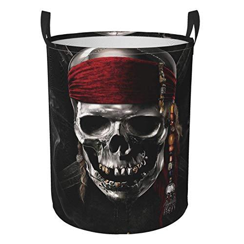 niushan Funny Pirates Caribbean - Cesta de lavandería grande impermeable plegable con asas redonda bolsa de almacenamiento, cuarto de baño/dormitorio/dormitorio
