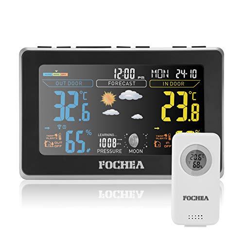 FOCHEA Wetterstation Funk mit Außensensor, Funk Wetterstation Digital-Thermometer Hygrometer mit Wettervorhersage, Alarm/Schlummerfunktion, Luftfeuchtigkeit- und Temperaturüberwachung Schwarz