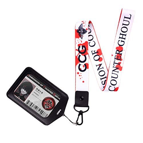 Schlüsselband Schlüsselanhänger für Tokyo Ghoul mit Juzo Suzuya CCG ID Karte im Ausweishalter Juuzou Anime (Suzuya)