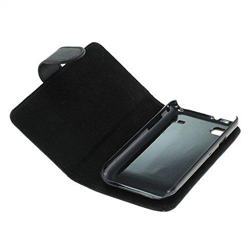 Mobilfunk Krause - Book Hülle Etui Handytasche Tasche Hülle für Samsung GT-I9001 / I9001 (Schwarz)