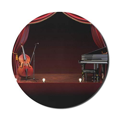 Runde Mausmatte, Musiktheater-Mauspad für Computer, Orchester-Sinfonie-Thema Bühnenvorhänge Klavier Cello-Musikdesign, rundes rutschfestes Gummi-Mousepad mit moderner Basis, burgunderbraunes schwarzes