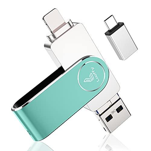 4in1 USBメモリ 64GB 高速 Phone usbメモリー USB/Type-C/micro usb フラッシュドライブ 回転式 PC/Pad/Android対応 フラッシュメモリ スマホ データ保存 写真 バックアップ 緑