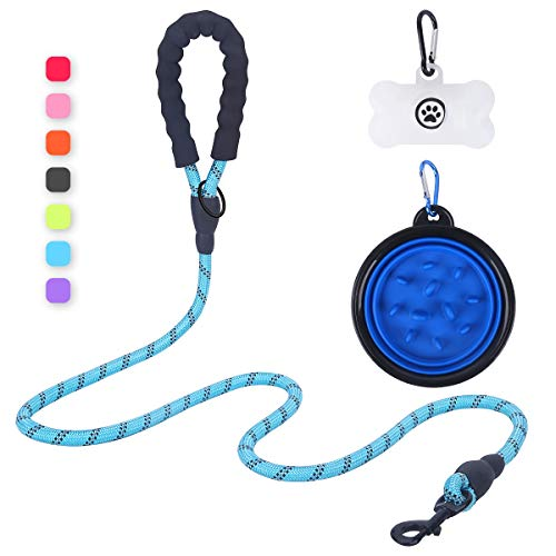 Bolux 5ft Strong Dog Leash with Comfortable Padded Handle, Highly Reflective Threads and Heavy Duty Training Durable Nylon Dog Leash for Medium Large Dogs