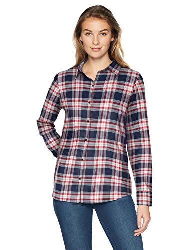 Amazon Essentials Women's Long-Sleeve Classic-Fit Lightweight Plaid Flannel Shirt Shirt, -red/navy plaid, X-Small