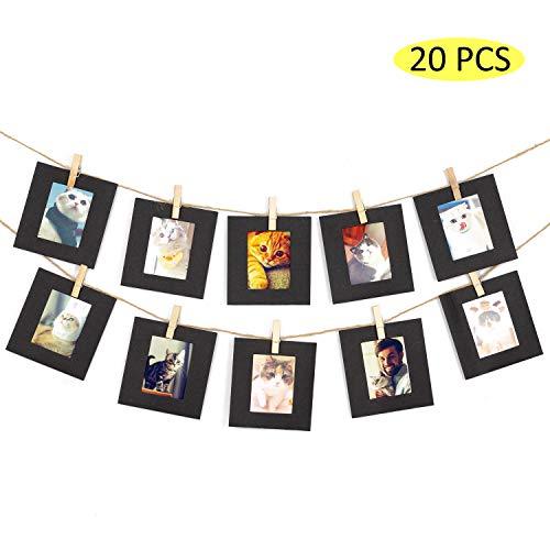 Amimy 20 PC Marco de Fotos Papel Fijar para Fujifilm Instax Mini 7s 8 8+ 9 25 50 70 90, Polaroid Snap PIC-300, HP Piñón, Kodak Mini 3 Pulgadas Film (Negro)