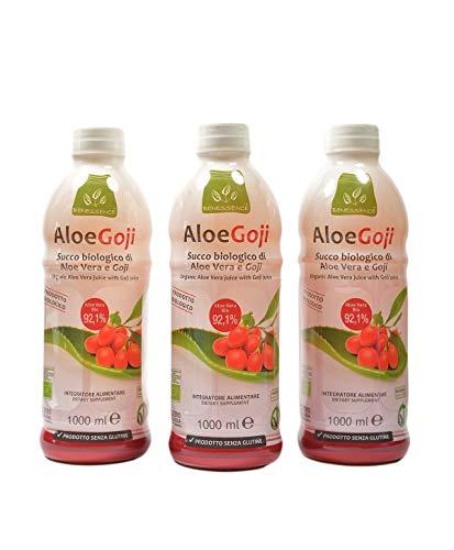 Benessence - Jugo orgánico de Aloe Vera y Goji - 3 x 1L