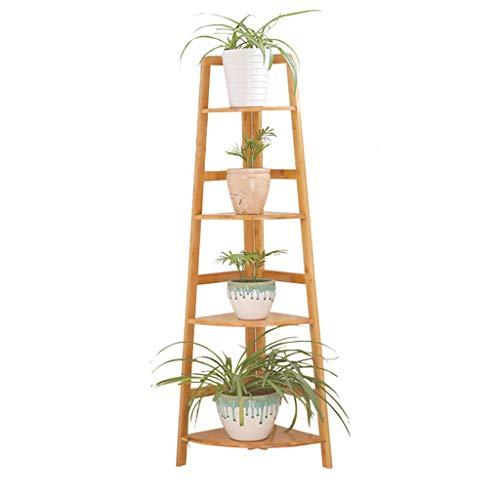 Étagères De Pot De Fleurs De Support De Plante D'échelle De Support De Fleur De Bambou Pour Le Balcon D'intérieur, 4 Rangées