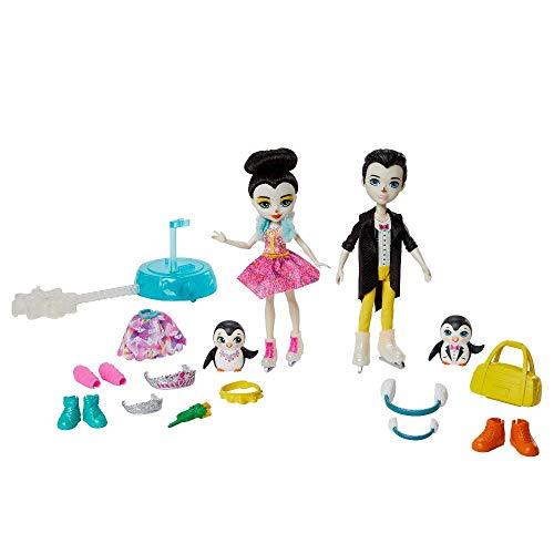Enchantimals- Cuori e Pattinaggio sul Ghiaccio, Bambole di Preena e Patterson i Pinguini, 2 Cuccioli e Oltre 15 Accessori Giocattolo per Bambini 3+Anni, GJX49