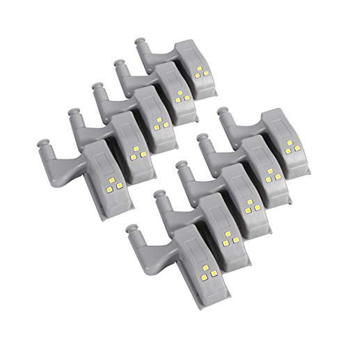 Omabeta 10Pcs Universale Armadio Armadio Armadio Armadio LED Cerniera Luce Cerniera LED Sensore Luce Sensore Interno Luce per Cucina di Casa Bianco Caldo(Warm White)