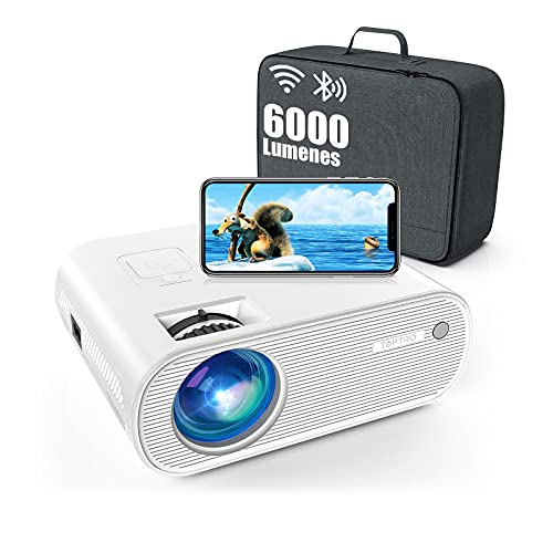Proyector WiFi Bluetooth, TOPTRO 6000 Lúmenes Mini Proyector Portátil Soporta Full HD 1080P[Estuche de Transporte Incluido], Proyectores Cine en Casa, LED 90000H, Zoom X/Y, para TV Stick/PS5/PC/Phone