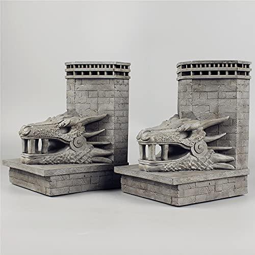 SZSBLT Canción de Hielo y Fuego Juego de Tronos Dragon Rock Island Dragon Rock Castle Gate Sujetalibros Libro Estatua de pie Juego de Muebles para el hogar