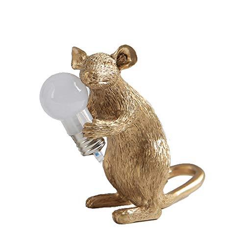 YGRHHP Diseño de arte ratón de resina blanca luz nocturna decoración de escritorio iluminación LED creativa lámpara de noche para habitación de los niños lámpara de mesa de ratón dorado sentado dorado